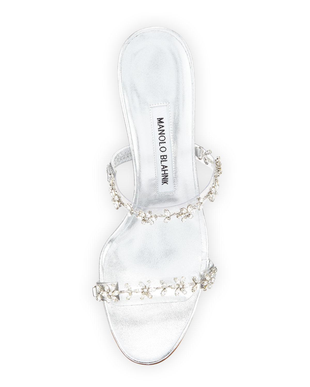 0c93e705d Lyst - Manolo Blahnik Diora Crystal Illusion Slide Sandal in Metallic