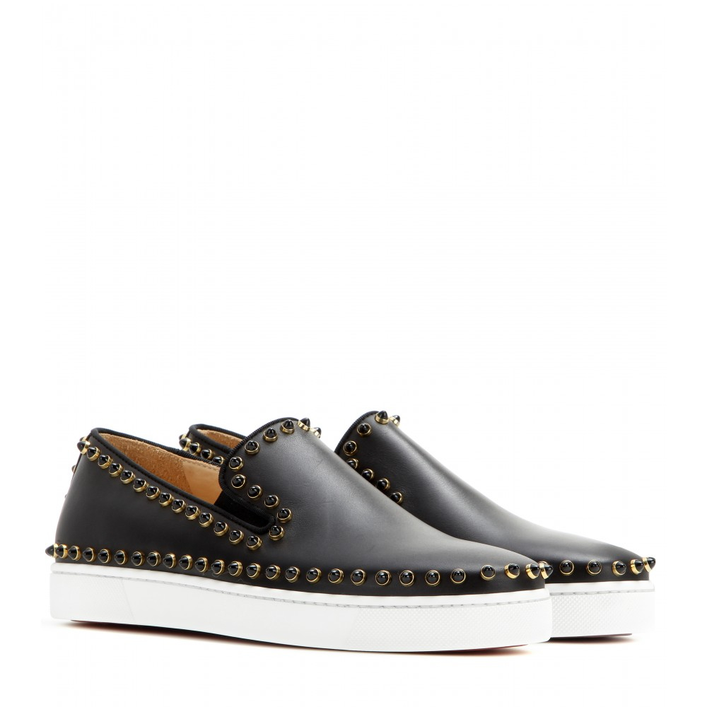 cheap louis vuitton mens shoes - Christian louboutin Pik Boat Studded Leather Slipon Sneakers in ...