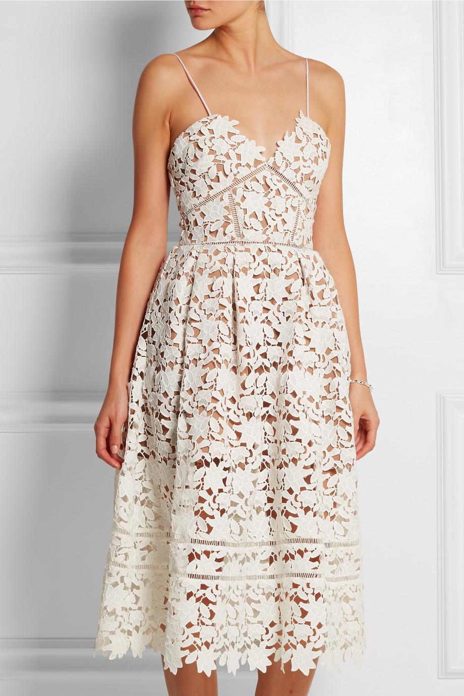 a226e87b7a54ea Self-Portrait Azaelea Floral-Lace Dress in White - Lyst