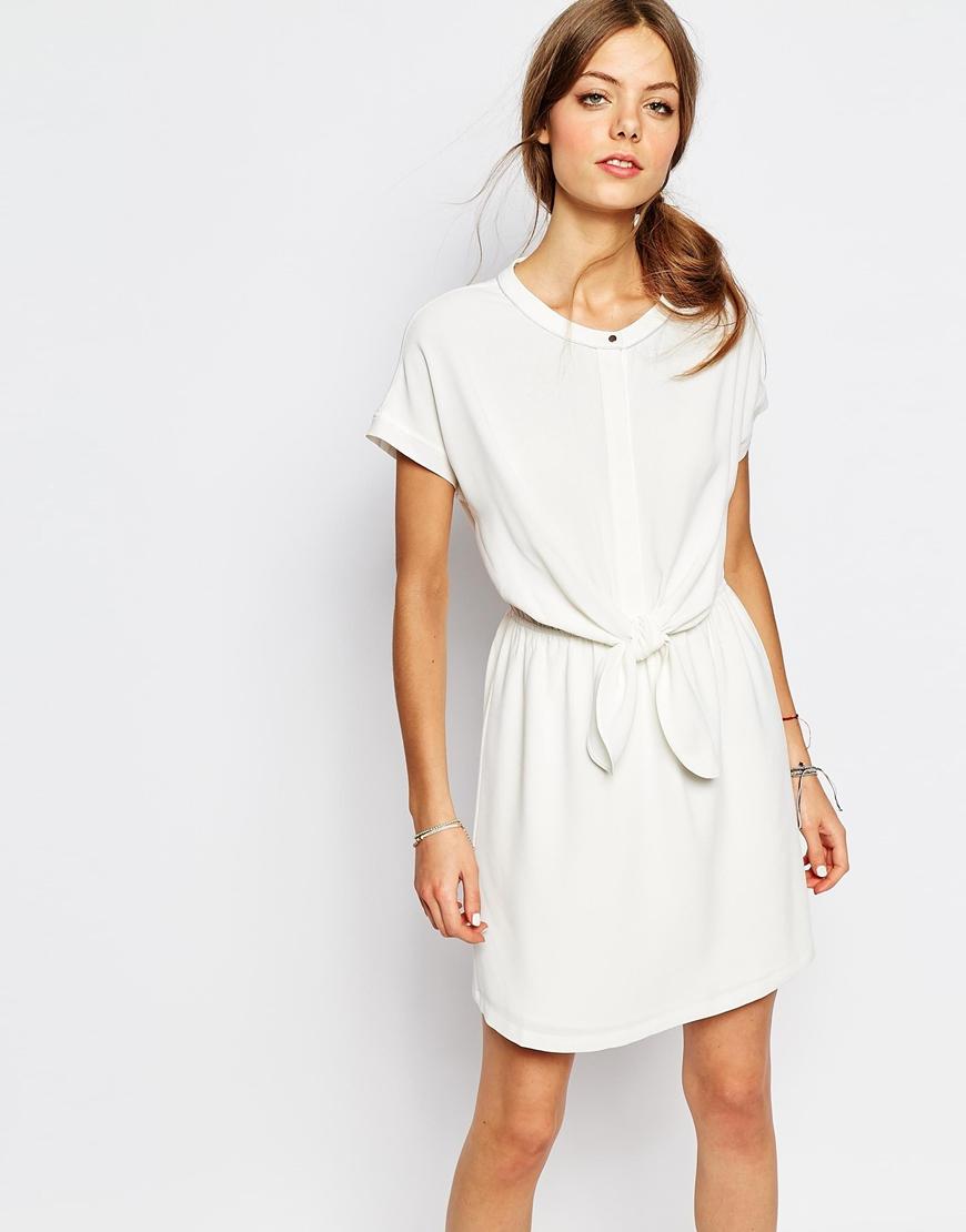 192d334c3a Lyst - Suncoo Tie Waist Dress In White in White