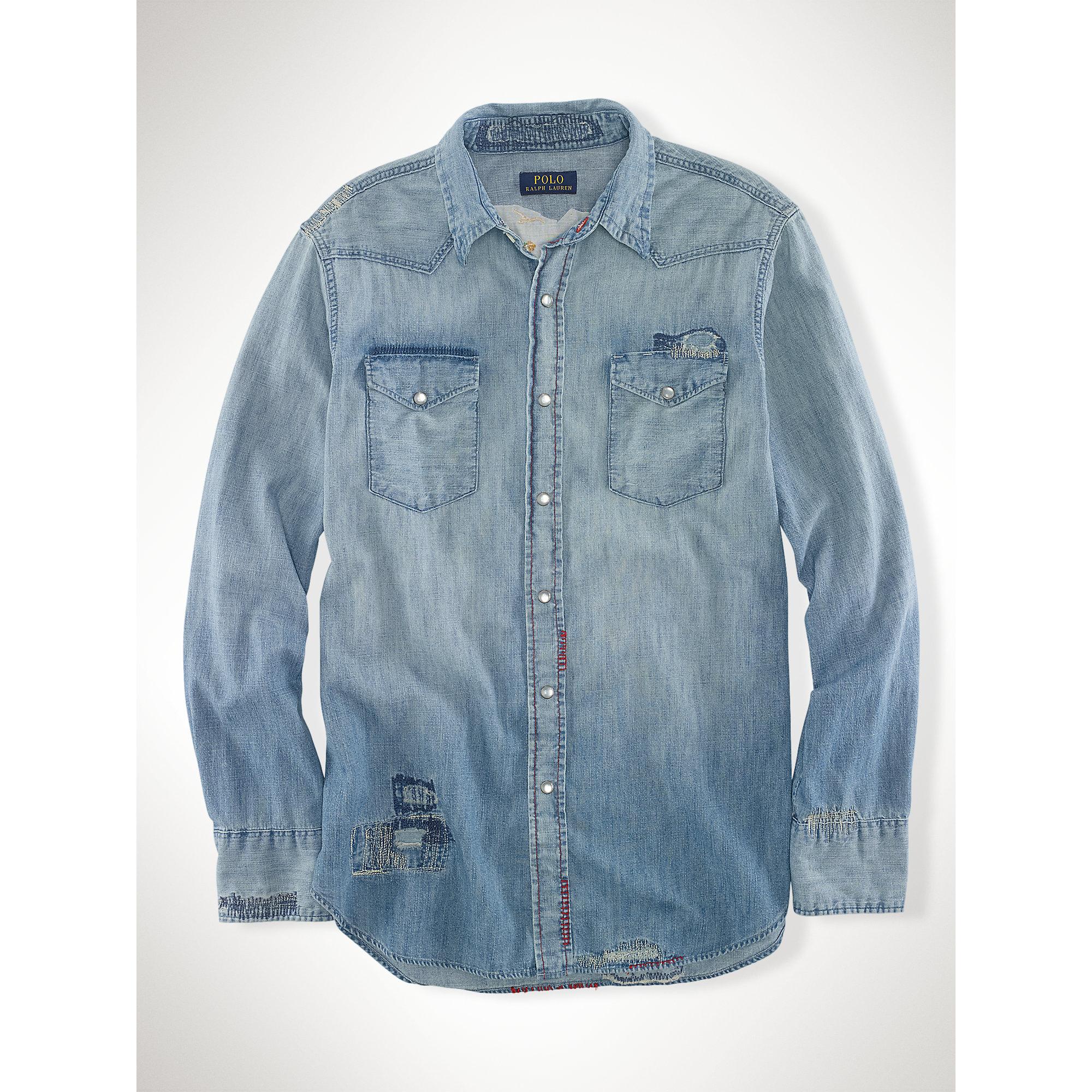 Polo ralph lauren embroidered denim workshirt in blue for for Work polo shirts embroidered