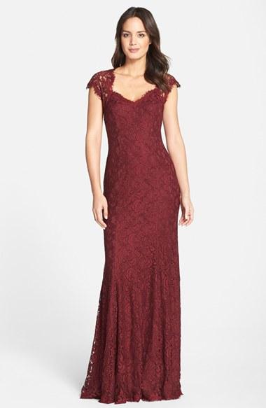 Tadashi shoji Tadashi 'auburn' Corded Lace Gown in Red | Lyst
