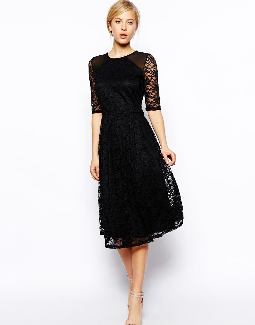 Lyst - Asos Midi Dress In Sunflower Lace With Shoulder Detail in Black