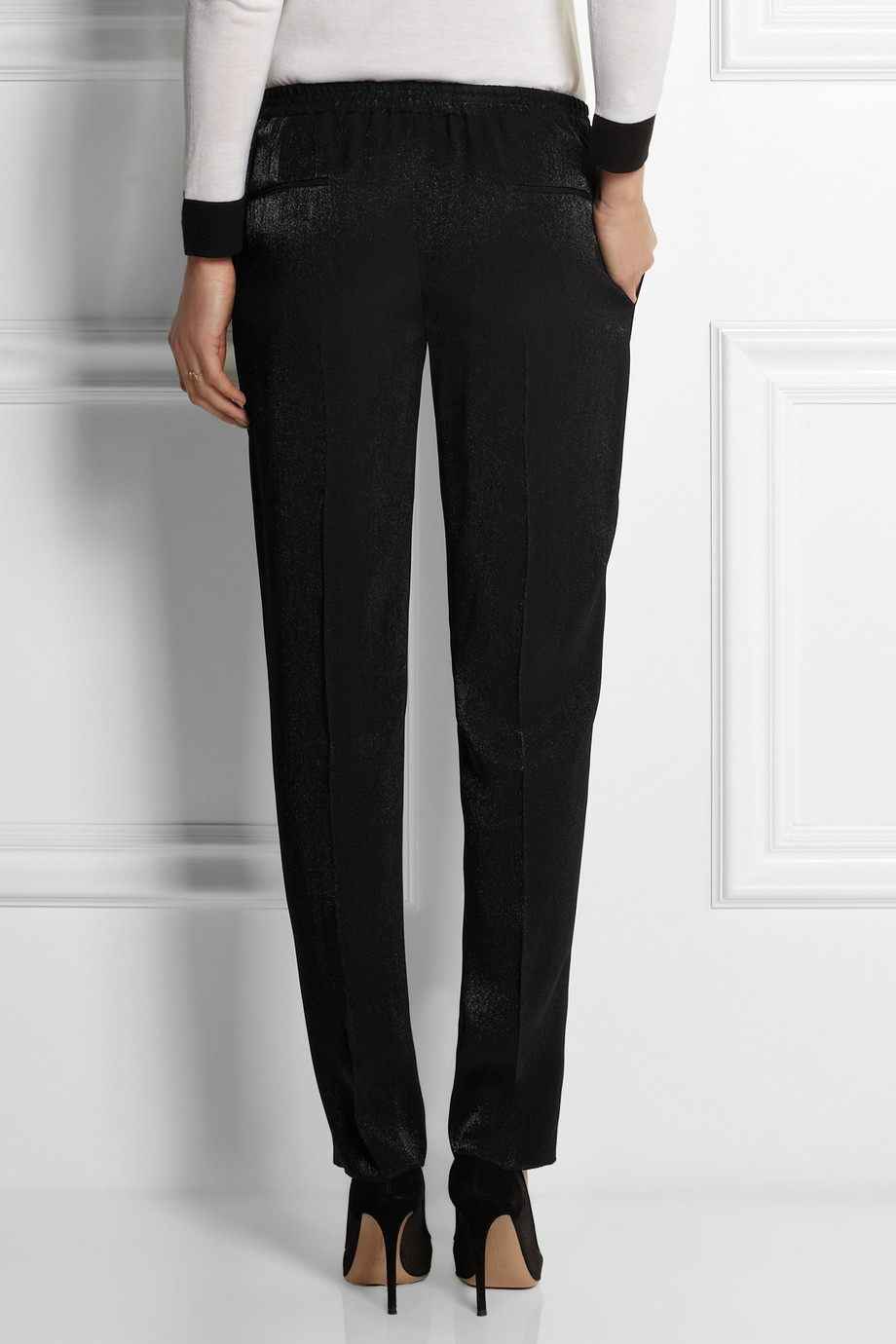 Lyst Calvin Klein Satin Crepe Tapered Pants In Black