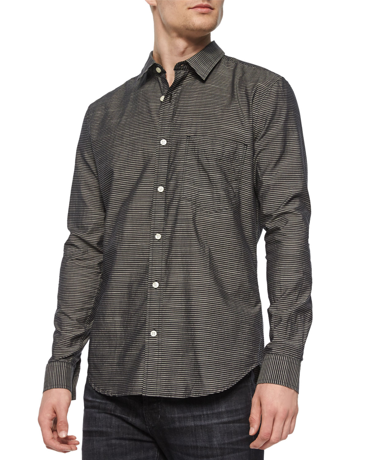 Lyst 7 for all mankind horizontal striped long sleeve for Horizontal striped dress shirts men
