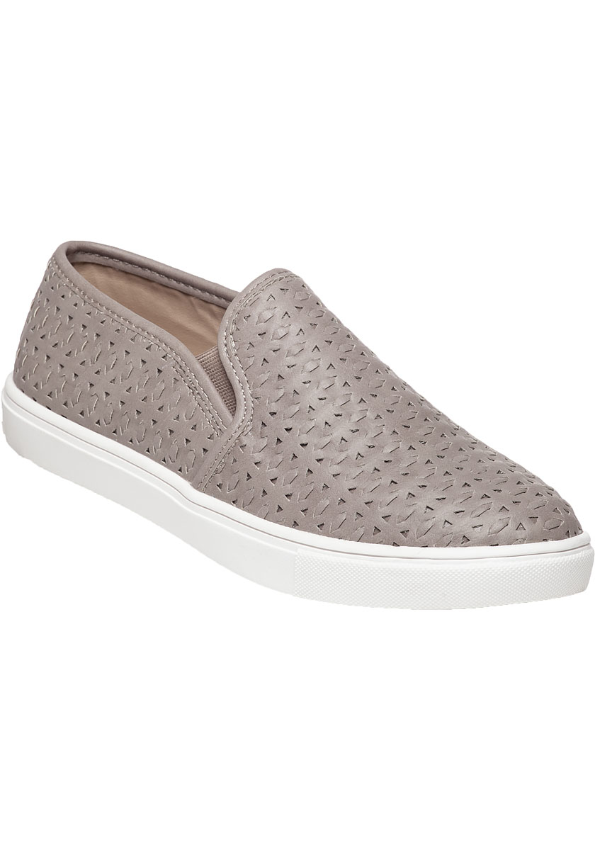 Lyst Steve Madden Excel Grey Cut Out Slip On Sneaker In Gray