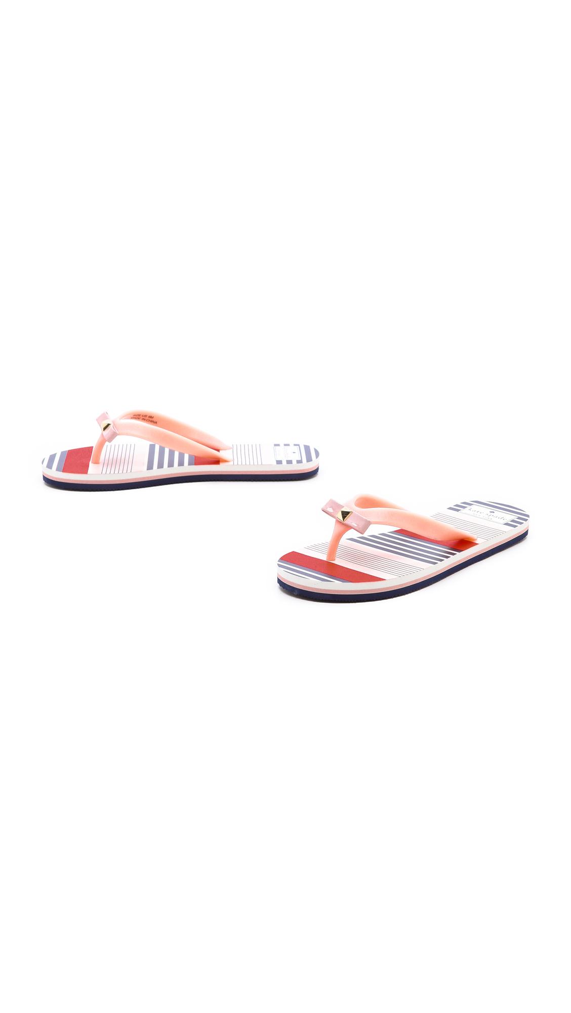 0f5af7dfc489 Lyst - Kate Spade Fiji Striped Flip Flops in Pink