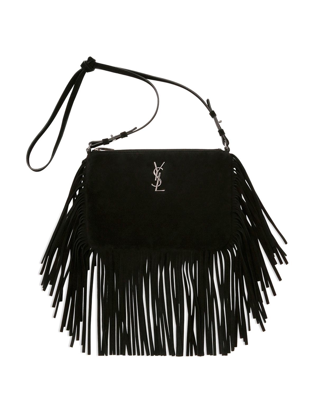85fbb4ff2000 Saint Laurent Monogram Small Fringed Cross-Body Bag in Black - Lyst