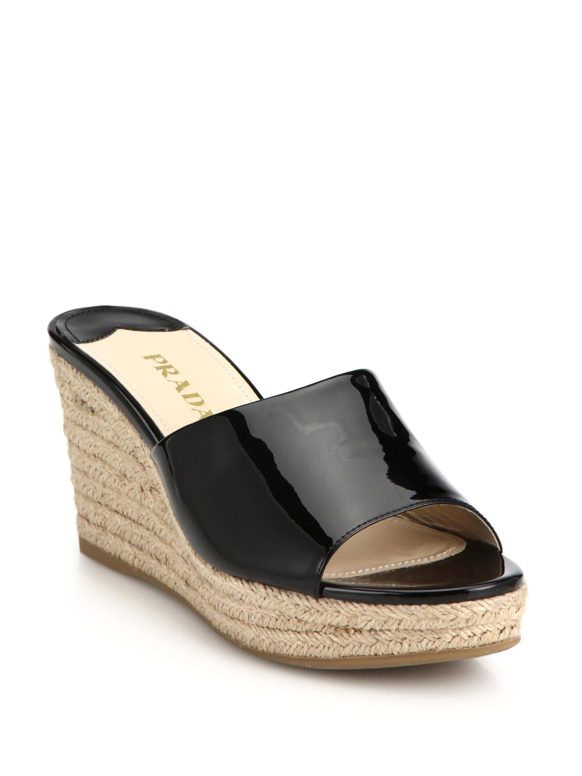 4b6a96d2ae6 Prada Black Patent Leather Wedge Sandals