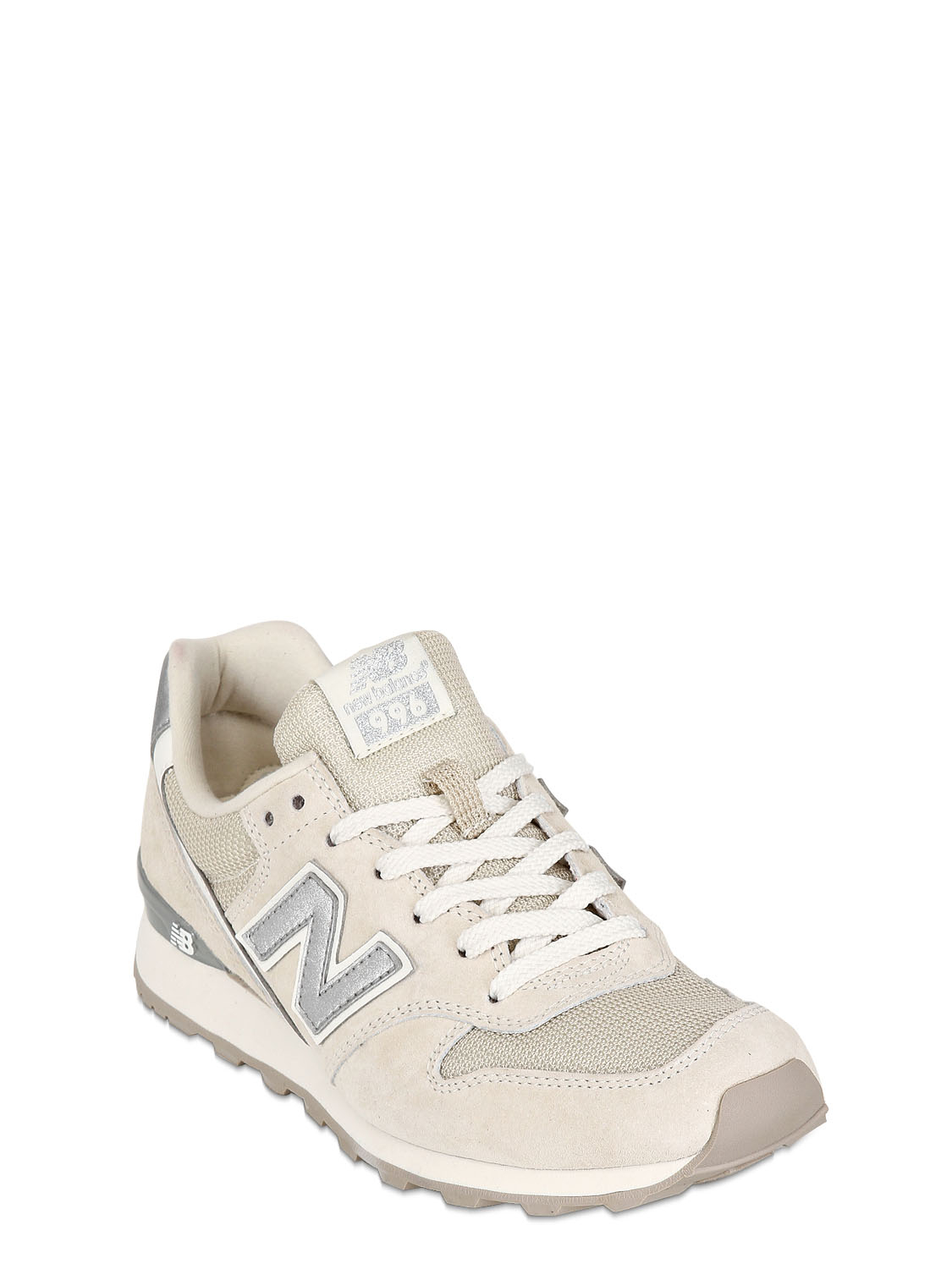 new balance 996 suede mesh sneakers in beige cream lyst. Black Bedroom Furniture Sets. Home Design Ideas