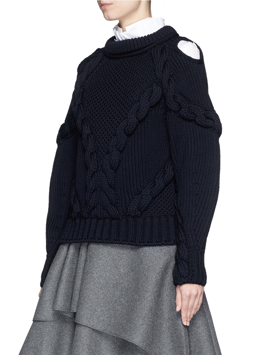 Alexander mcqueen Cable Knit Cold Shoulder Wool Sweater in ...