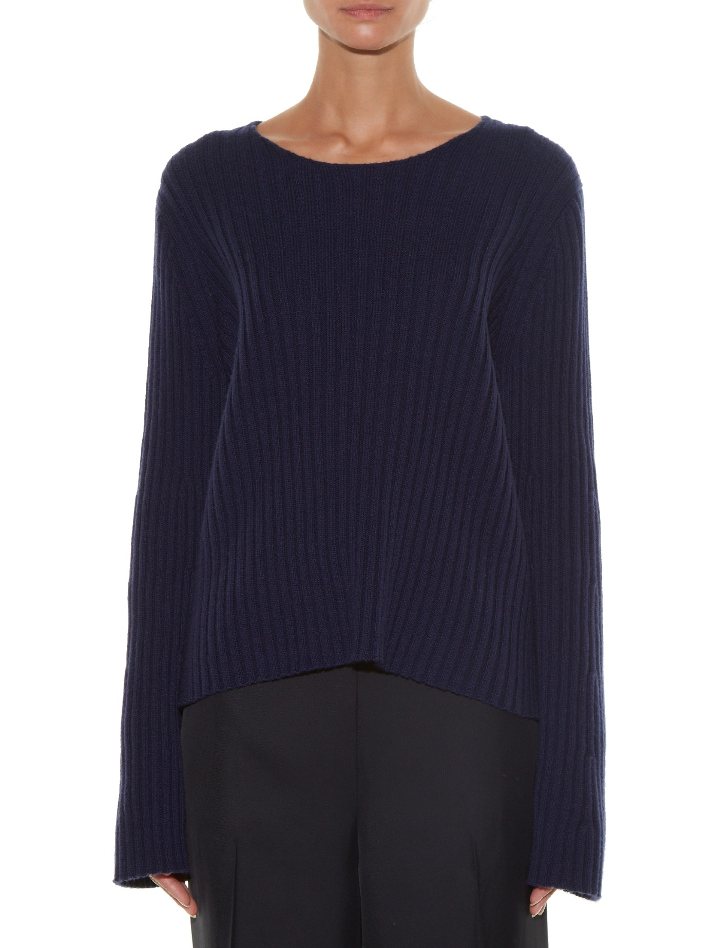 The row Pleata Wide-sleeve Ribbed-knit Sweater in Blue | Lyst