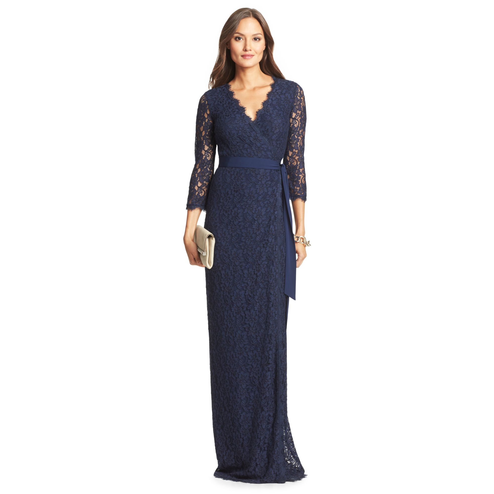 Diane von furstenberg Dvf Julianna Lace Long Wrap Dress in Blue  Lyst