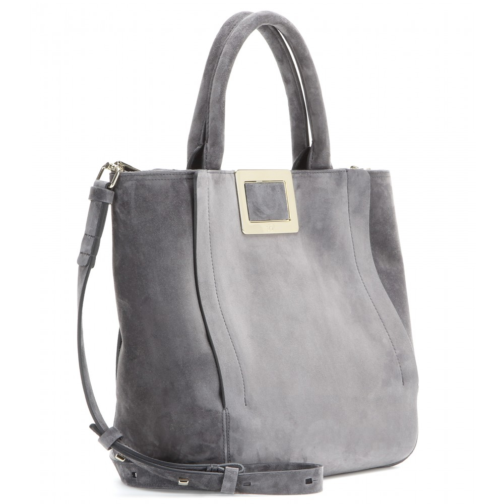 bd18c151ce47 Lyst - Roger Vivier Ines Suede Tote in Gray