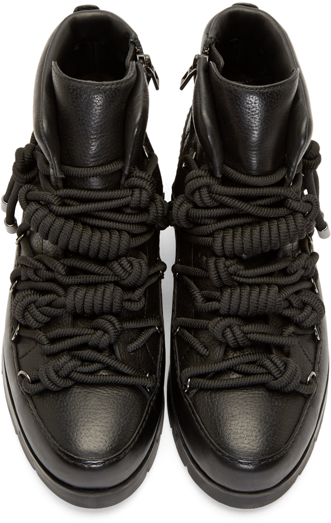 3.1 phillip lim Black Leather Hiking Boots in Black for Men | Lyst