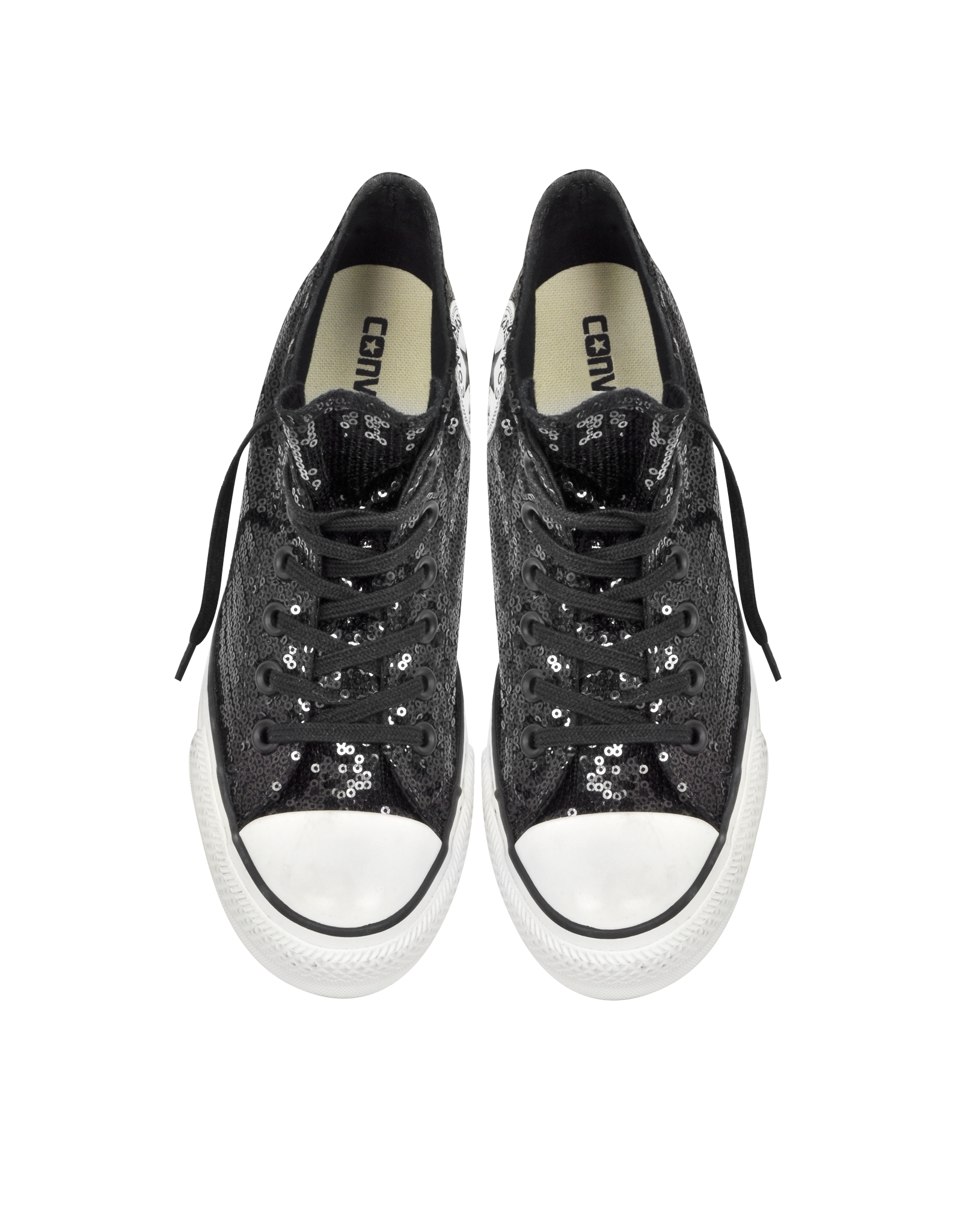 3e2d134efa61 Lyst - Converse All Star Mid Lux Black Sequins And Canvas Wedge ...