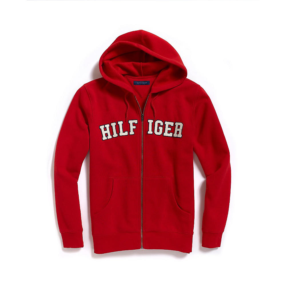 Tommy hilfiger Full Zip Hilfiger Hoodie in Red for Men (SWISS RED) | Lyst