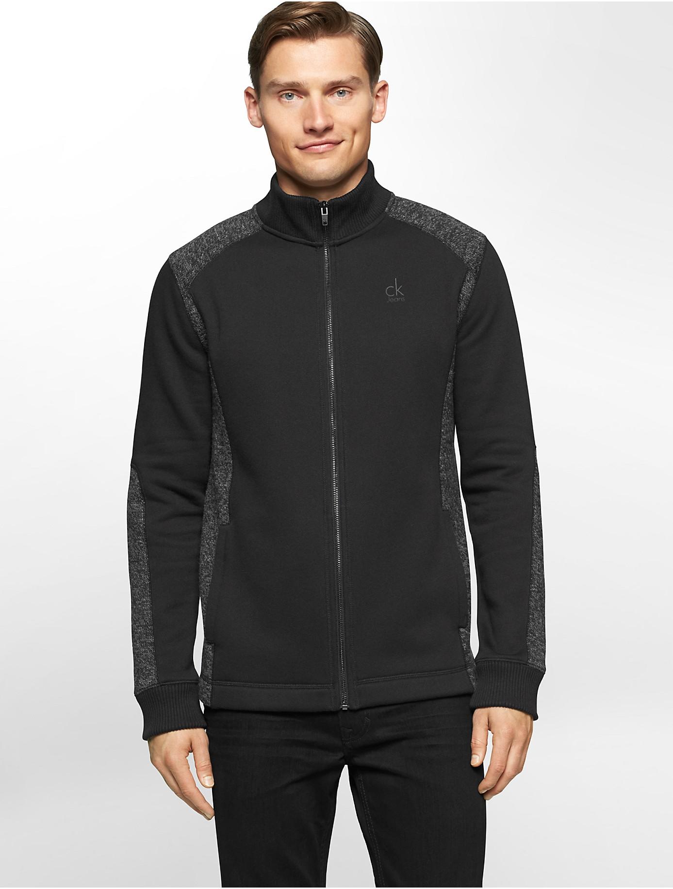 calvin klein jeans melange zip front fleece jacket in. Black Bedroom Furniture Sets. Home Design Ideas