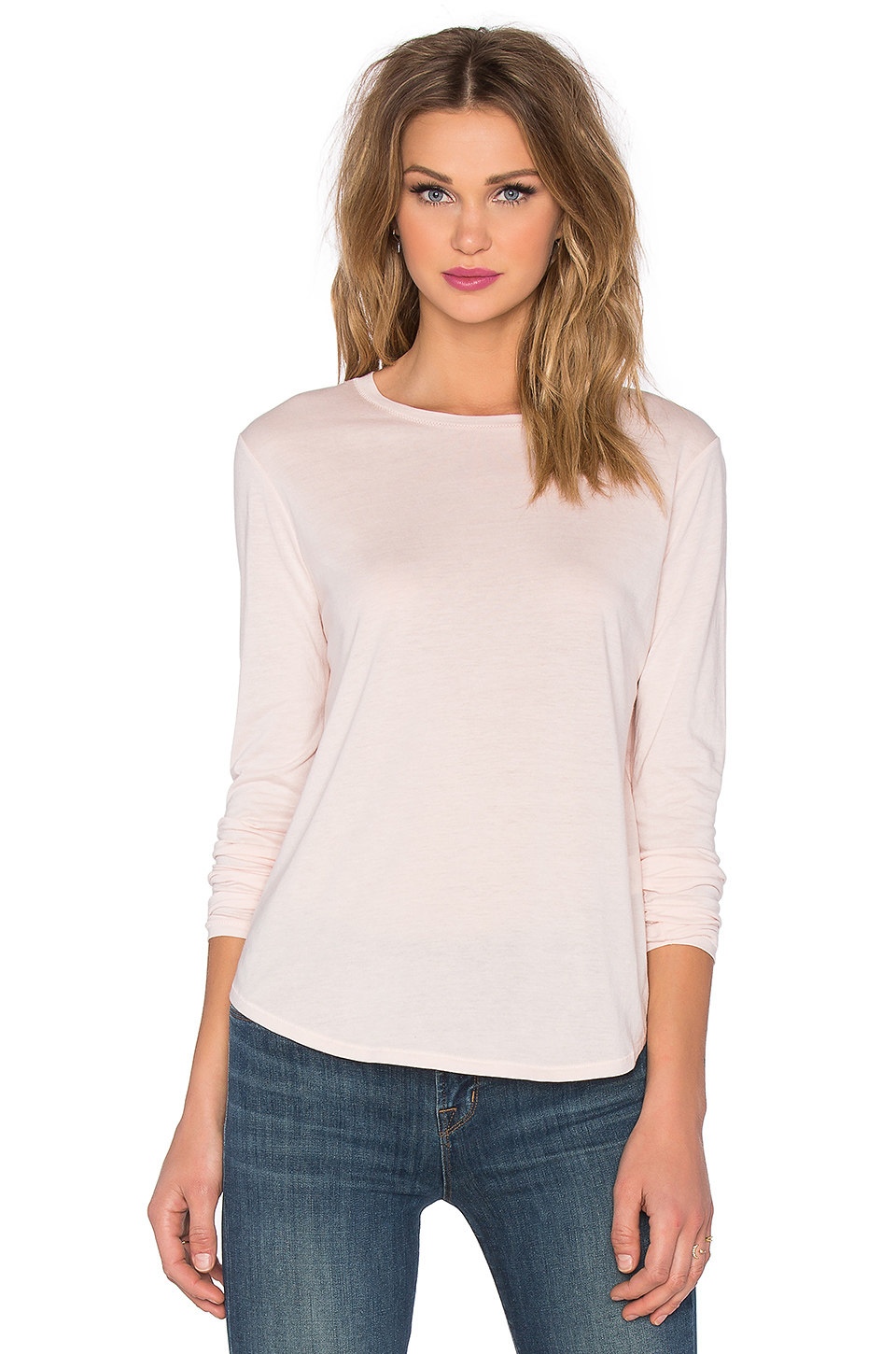 Vince long sleeve little boy tee in natural lyst for Vince tee shirts sale