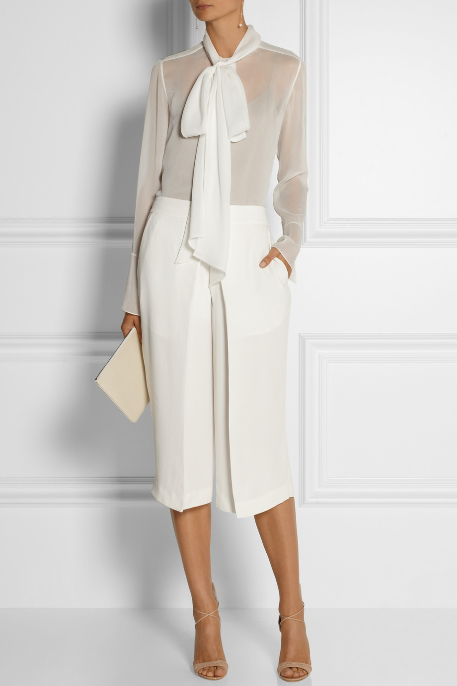 Joseph Billy Pleated Washed Silk Culottes In White Lyst