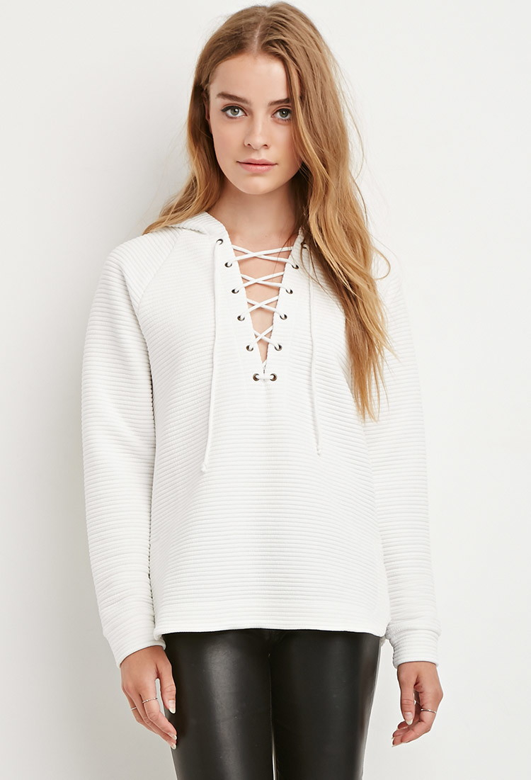 Lyst - Forever 21 Quilted Crisscross-neck Hoodie You ve Been Added ... 8c4717c64