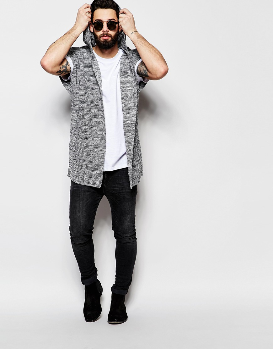 Asos Sleeveless Hooded Cardigan - Grey Twist in Gray for Men | Lyst