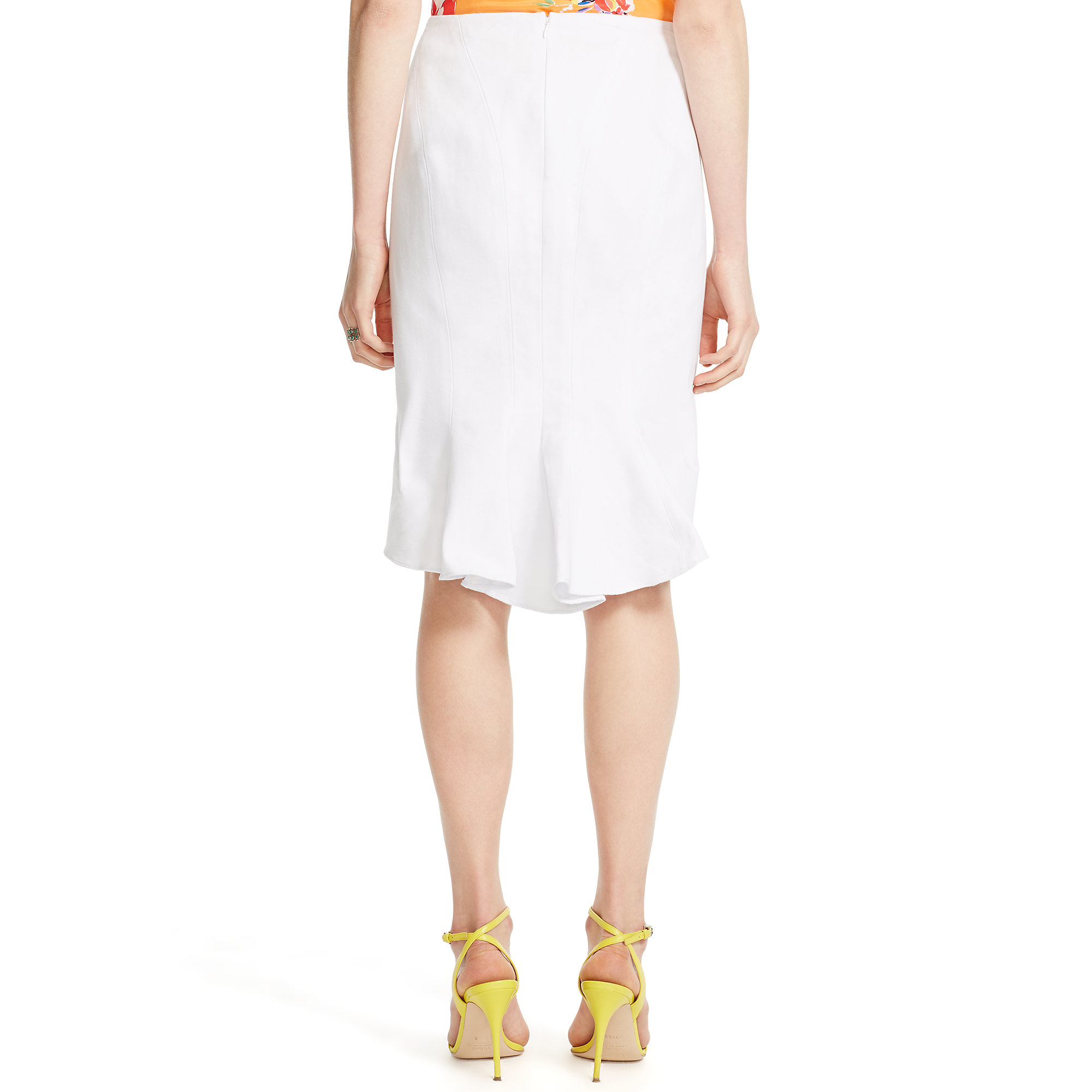 Polo ralph lauren Cotton Fish-tail Pencil Skirt in White | Lyst