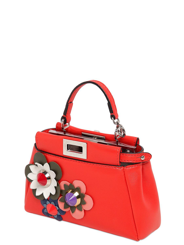 15e7a4ab951 Lyst - Fendi Micro Peekaboo Flower Appliqués Bag in Red