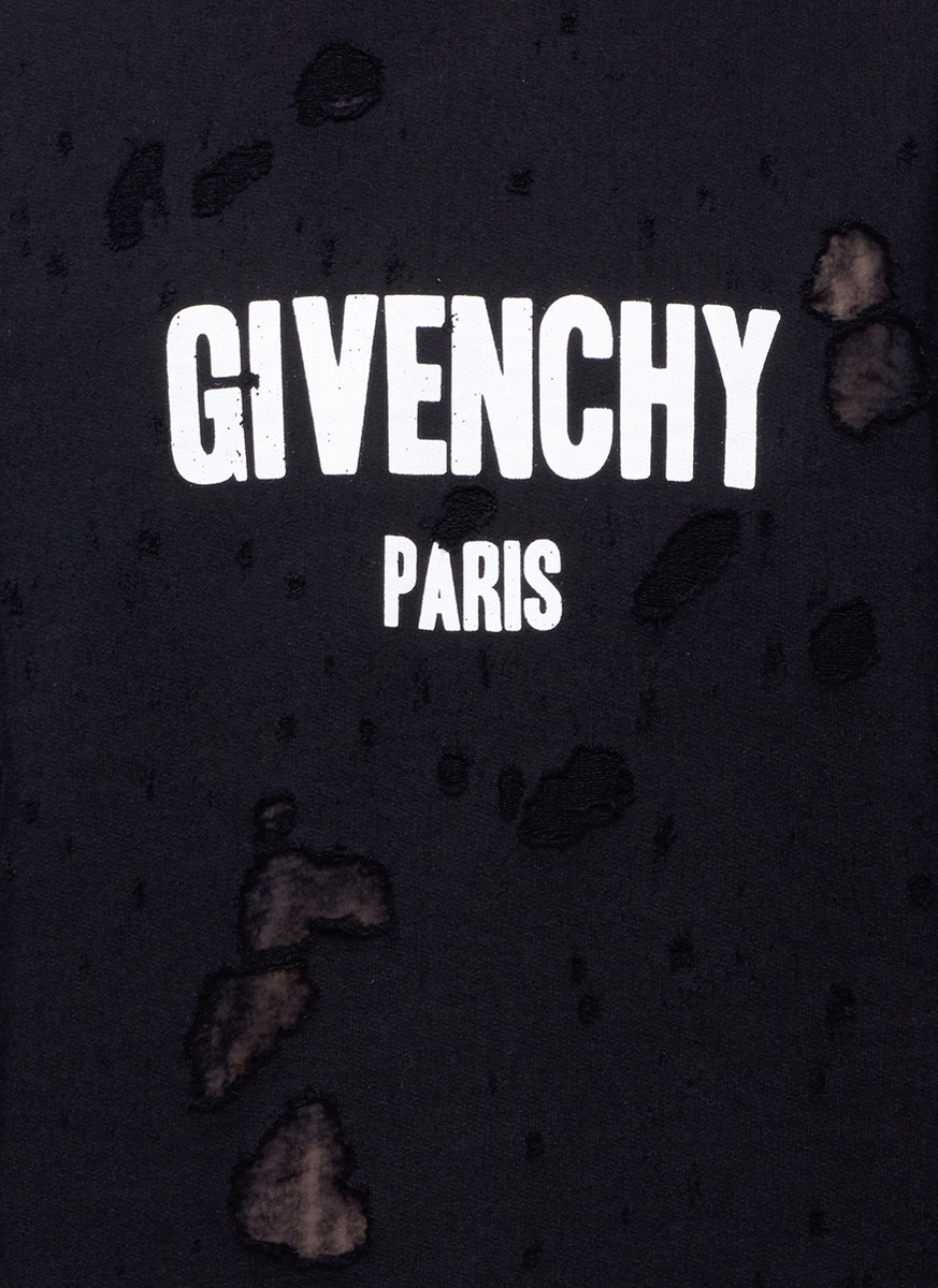 Lyst Givenchy Logo Print Distressed Hoodie In Black For Men