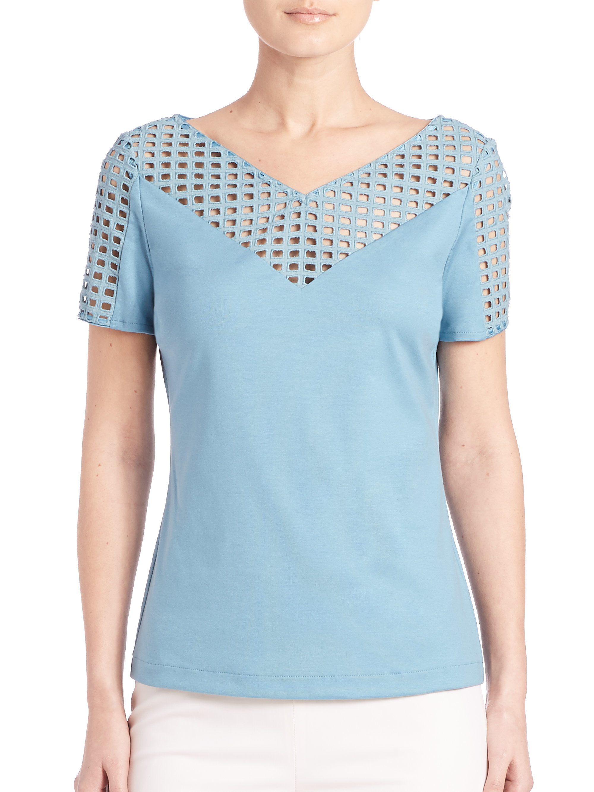 148 Best Images About Craft Ideas For Girls On Pinterest: Lafayette 148 New York Perforated Top In Blue