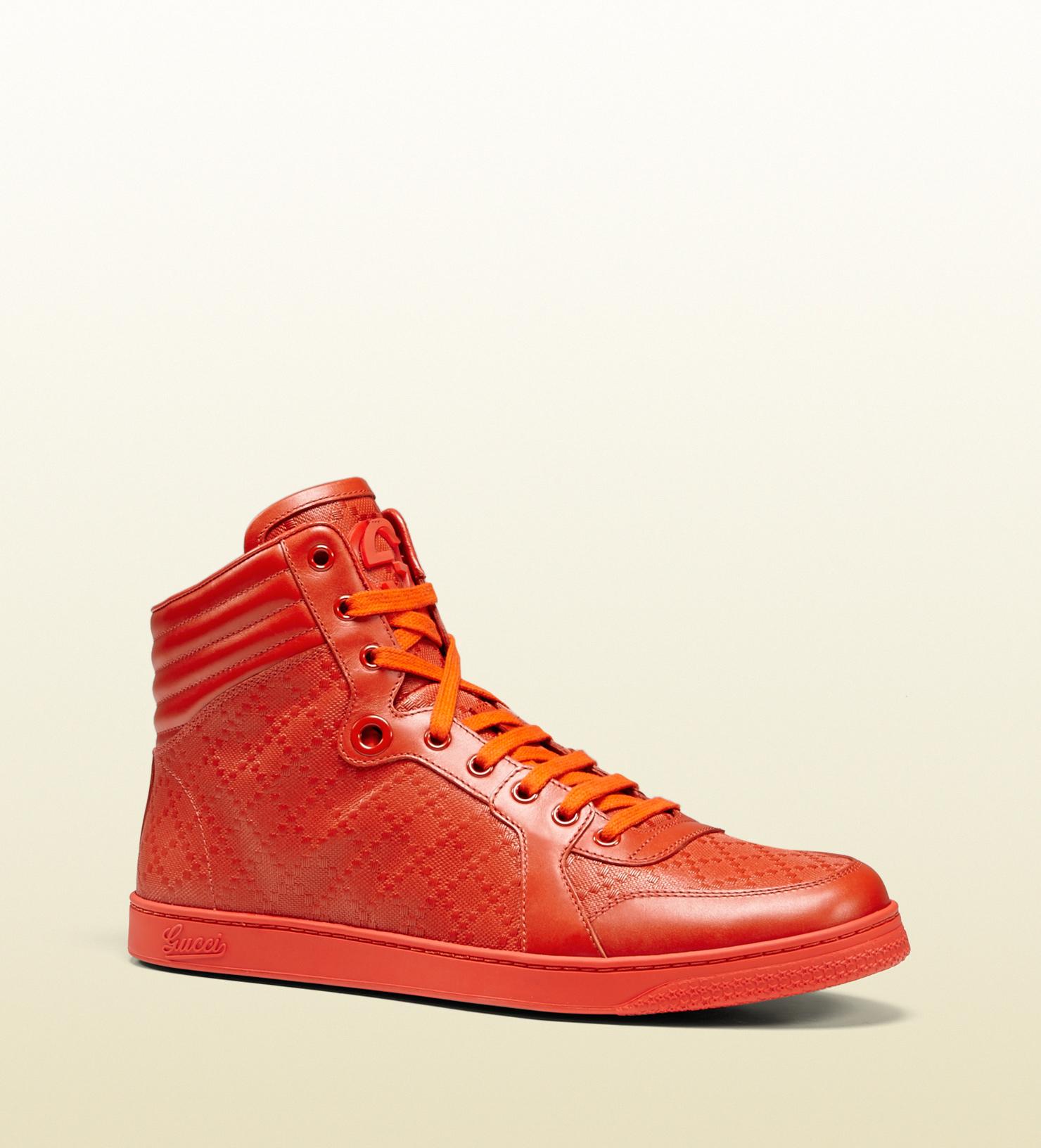 282171e14 Gucci Diamante Leather High-top Sneaker in Orange for Men - Lyst