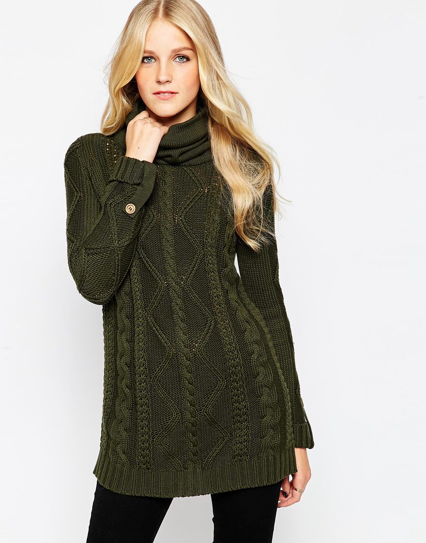 vero moda green roll neck cable knit sweater dress lyst. Black Bedroom Furniture Sets. Home Design Ideas