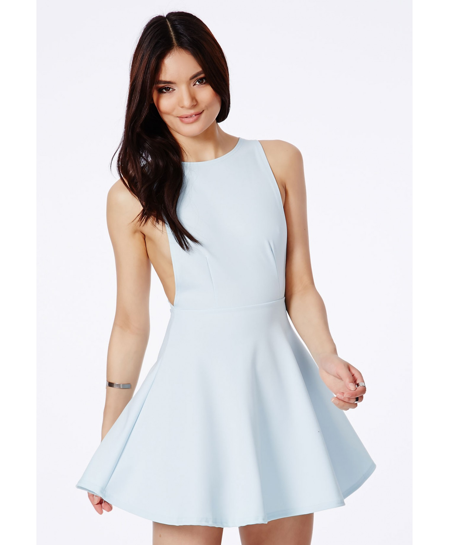 80d831a2a2cd Lyst - Missguided Marenna Backless Skater Dress In Baby Blue in Blue