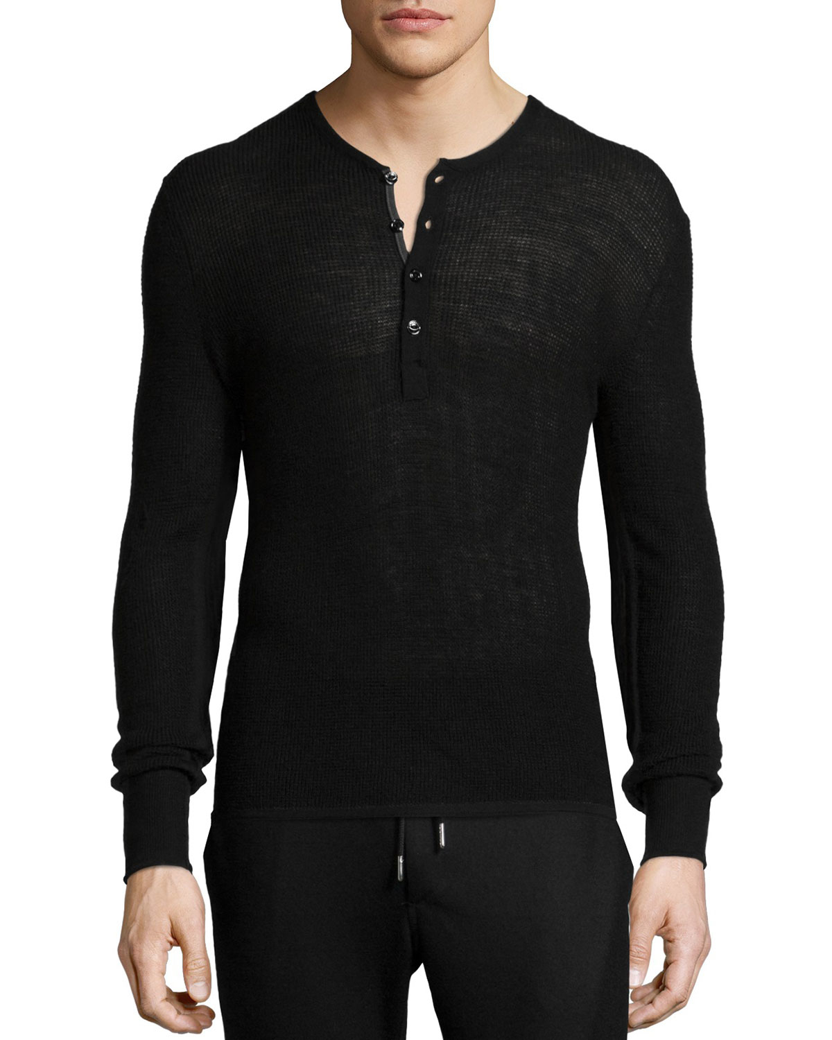 Rag & bone Garrett Thermal Long-sleeve Henley Shirt in Black for ...