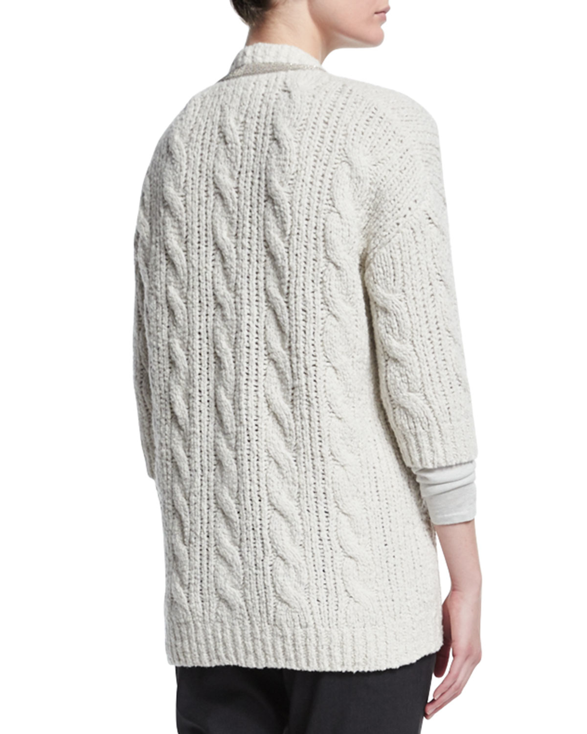 Brunello cucinelli Monili-beaded Cable-knit Cardigan in White | Lyst