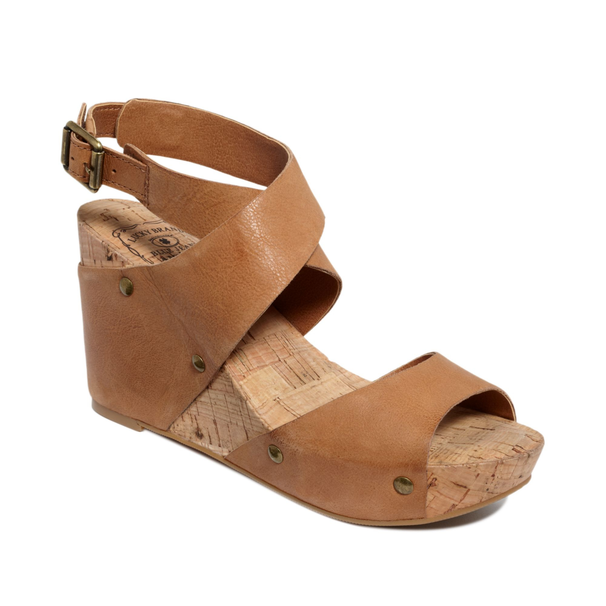 92e06f7ec995 Lyst - Lucky Brand Moran Wedge Sandals in Brown