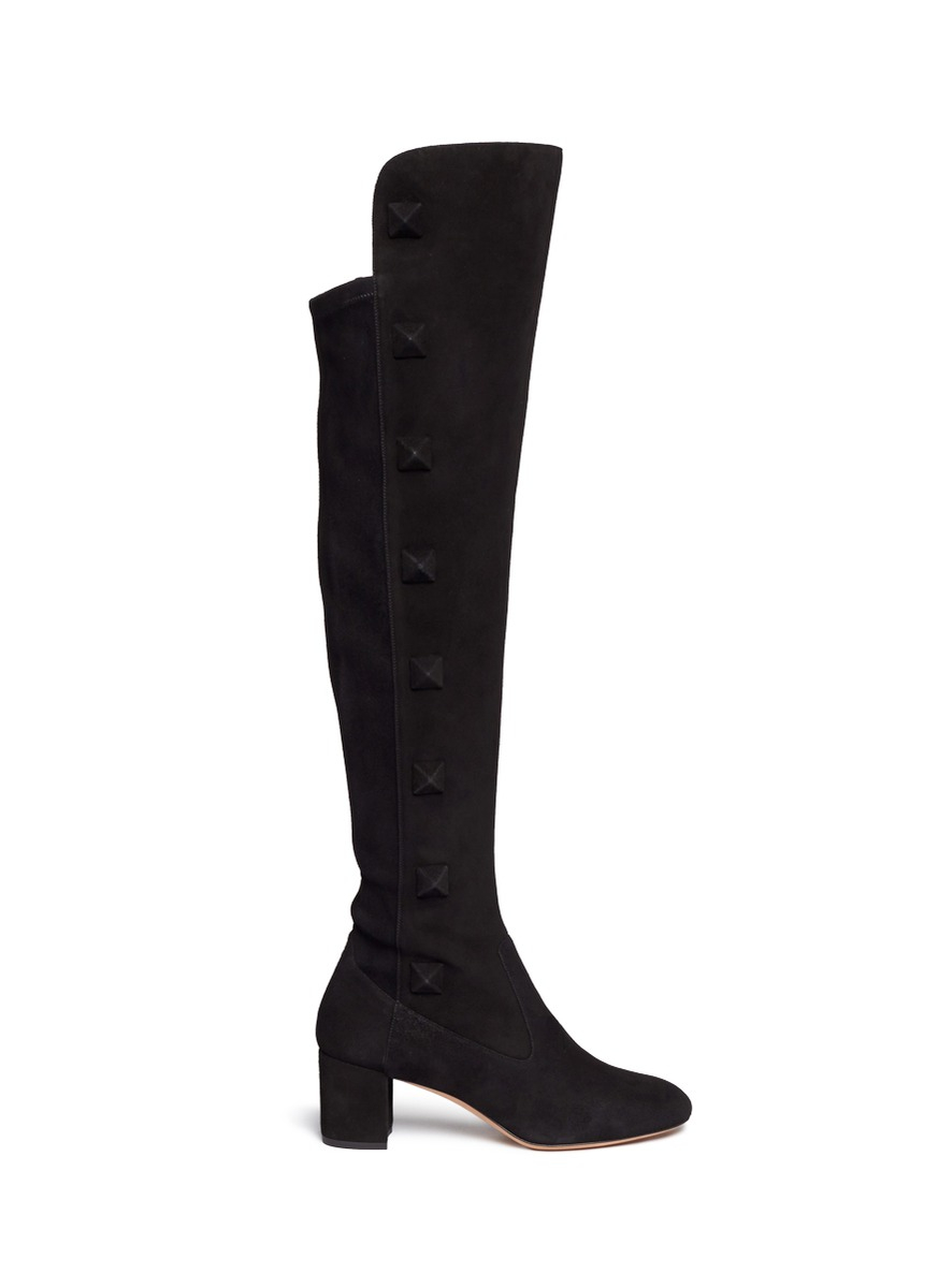 valentino rockstud thigh high suede boots in black lyst