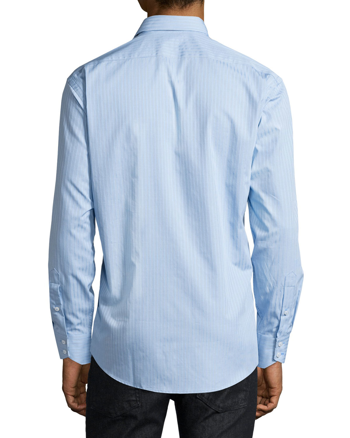 neiman classic fit striped sport shirt in blue for