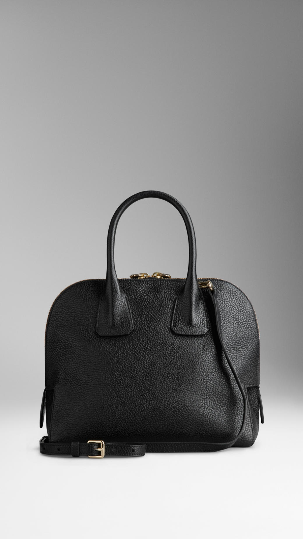 6cdd30ea0459 Lyst - Burberry Small Grainy Leather Bowling Bag in Black
