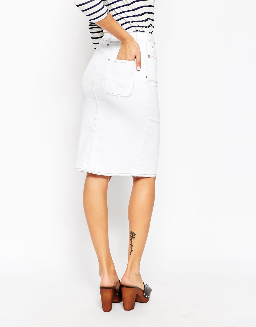 Asos Denim Split Front Midi Pencil Skirt In White in White | Lyst