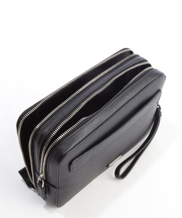 Prada Black Saffiano Leather Double Zipper Small Travel Bag in ...