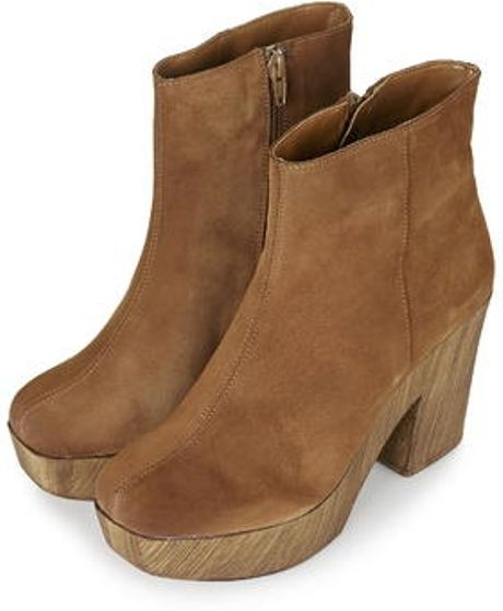 topshop hitch suede 70s clog boots in brown lyst
