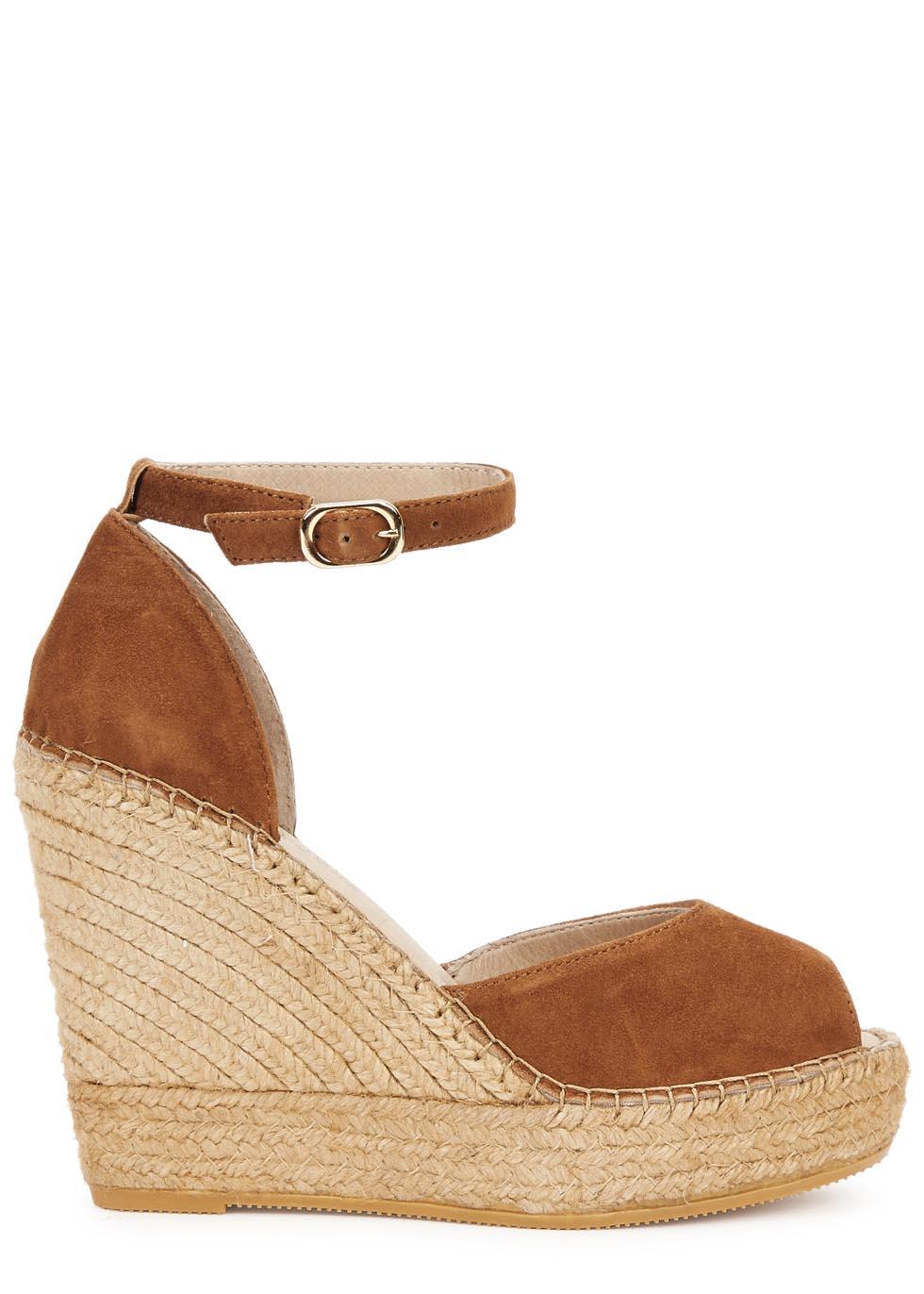 7d9e68e928f Macarena Sara Brown Suede Wedge Sandals in Brown - Lyst