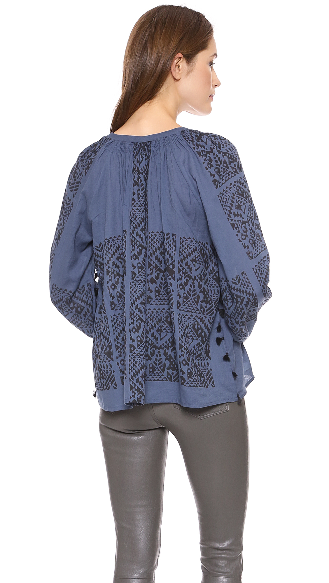 Lyst - Antik Batik Baka Blouse - Blue In Blue