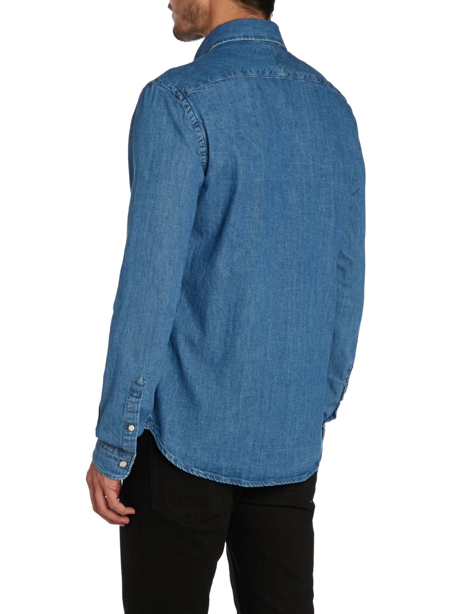 Paul Smith Tailored Fit Long Sleeve Denim Shirt In Blue