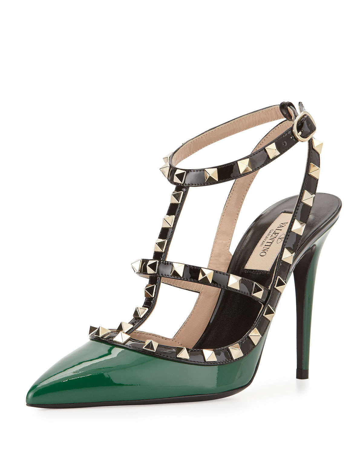 valentino garavani rockstud metallic leather pumps in green lyst. Black Bedroom Furniture Sets. Home Design Ideas