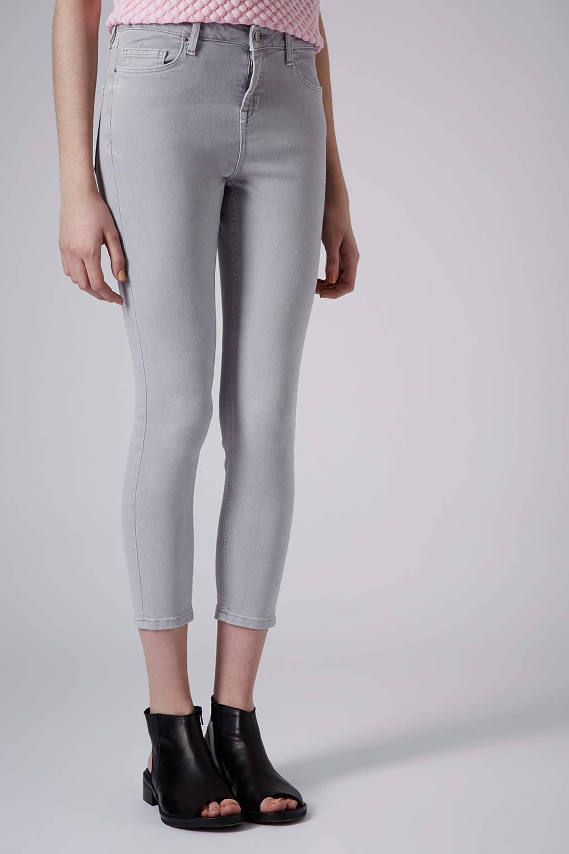 lyst topshop petite ice grey jamie jeans in gray. Black Bedroom Furniture Sets. Home Design Ideas