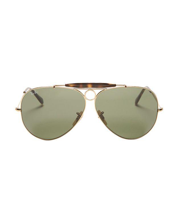 lyst ray ban classic brow bar aviator sunglasses green in metallic rh lyst com
