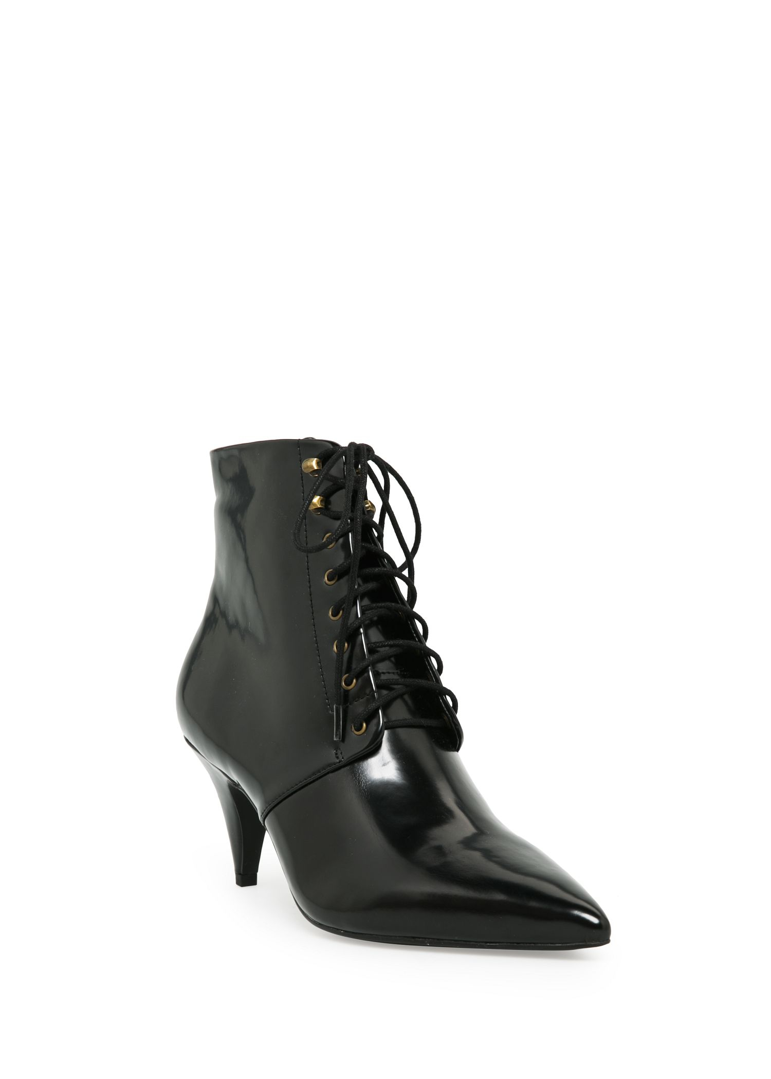 Mango Heel Lace-Up Ankle Boots in Black | Lyst