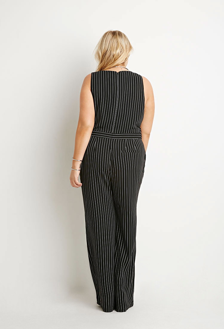 Lyst forever 21 plus size pinstriped jumpsuit in black for Thigh jewelry forever 21